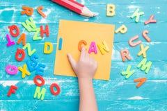 Письма игры детей пластичные к слову комбинаций Стоковые Изображения