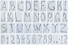 Письма и диаграммы написанные на снеге Стоковое Изображение RF