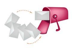 Письма и красный почтовый ящик изолированные на белом Backgrou Стоковые Изображения RF