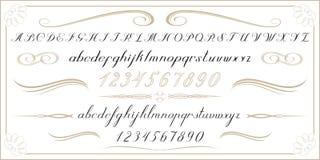Письма и номера АЛФАВИТА старые рукописные Стоковая Фотография RF