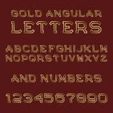 Письма и номера золота угловые Шрифт моды ретро Стоковое Изображение RF