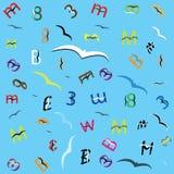 Письма и номера которые летают как птицы Стоковые Изображения RF