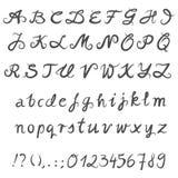 Письма и номера нарисованные рукой серые Стоковые Изображения RF