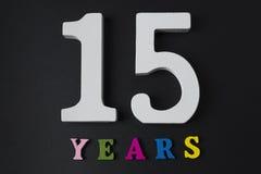 Письма и номера-15 на черной предпосылке Стоковые Изображения RF