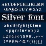 Письма и числа алфавита вектора покрытые серебром Стоковые Фото
