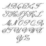 Письма каллиграфии вектора элегантные с florishes вензеля Стоковые Изображения