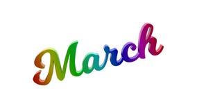 Письма названия текста 3D месяца в марте каллиграфические покрашенные с градиентом радуги RGB иллюстрация штока