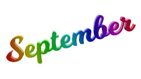 Письма названия текста 3D месяца в сентябре каллиграфические покрашенные с градиентом радуги RGB иллюстрация вектора