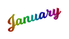 Письма названия текста 3D месяца в январе каллиграфические покрашенные с градиентом радуги RGB Стоковые Изображения