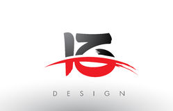 Письма логотипа щетки IZ i z с красным и черным набегающим краем щетки Swoosh Стоковые Изображения RF