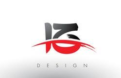 Письма логотипа щетки IZ i z с красным и черным набегающим краем щетки Swoosh Стоковые Фотографии RF