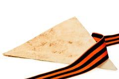 Письма от фронта сложили в треугольник и тесемку Джордж Стоковое Фото