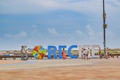 Письма Ресифи на Marco нул квадратных Ресифи Бразилия Стоковая Фотография RF