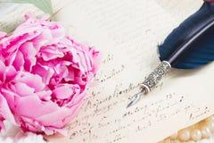 Письма ручки и антиквариата Quill Стоковое Изображение