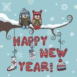 Письма связанные Новым Годом, сыч, аксессуары Стоковые Изображения
