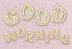 Письма с добрым утром в форме печений Стоковое Изображение