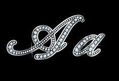 Письма Bling Aa диаманта сценария Стоковое Изображение