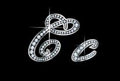 Письма Bling Cc диаманта сценария Стоковая Фотография