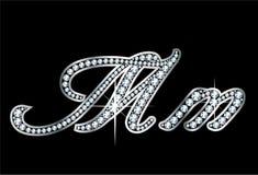 Письма Bling Mm диаманта сценария Стоковое Изображение RF