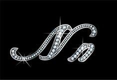Письма Bling Nn диаманта сценария Стоковые Изображения