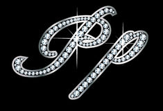Письма Bling Pp диаманта сценария Стоковые Фото