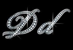 Письма Dd Bling диаманта сценария Стоковое Фото