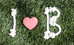 Письма i и b и 3 бумажных выхода отрезка сердца на траве Стоковые Изображения
