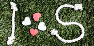 Письма i и s и 3 бумажных выхода отрезка сердца на траве Стоковая Фотография