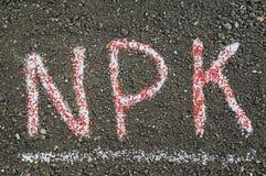 Письма NPK сделанные из минеральных удобрений Стоковая Фотография RF