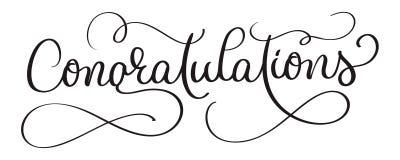 Письменный текст руки вектора литерности каллиграфии поздравлениям на белой предпосылке Каллиграфическое знамя бесплатная иллюстрация