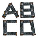 Письмо алфавита джинсыов Стоковая Фотография RF