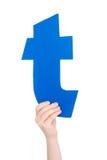 Письмо алфавита в руке ребенка Стоковые Фото