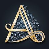 Письмо a вектора Золотой алфавит на темной предпосылке Грациозно heraldic символ Инициалы вензеля иллюстрация штока