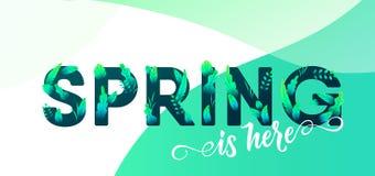 Письмо зеленого цвета весны с предпосылкой вектора листьев Флористическая иллюстрация графического дизайна весеннего времени для  иллюстрация вектора