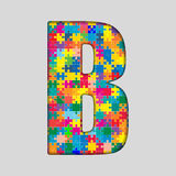 Письмо зигзага части головоломки цвета вектора - b Стоковые Фото