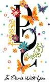 Письмо дизайна Парижа графические и цветки и бабочки Стоковая Фотография