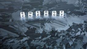 Письмо куба ЭНЕРГИИ на солнечной поверхности клетки кремния Концепция экологически чистой энергии Стоковая Фотография