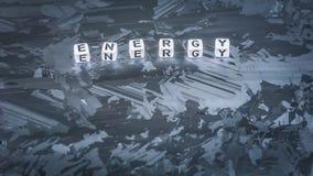 Письмо куба ЭНЕРГИИ на солнечной поверхности клетки кремния Концепция экологически чистой энергии Стоковое фото RF