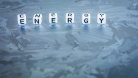 Письмо куба ЭНЕРГИИ на солнечной поверхности клетки кремния Концепция экологически чистой энергии Стоковые Изображения