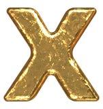 письмо x купели золотистое Стоковое Изображение