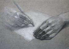 письмо руки притяжки Стоковое Изображение