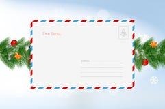 Письмо Санта Клауса Шаблон поздравительной открытки рождества вектора С Рождеством Христовым и счастливые элементы дизайна Нового иллюстрация вектора