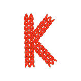 Письмо связанное алфавитом красное на белой предпосылке также вектор иллюстрации притяжки corel иллюстрация штока