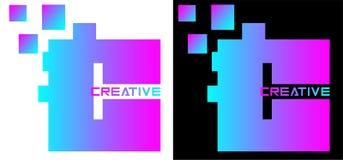 Письмо шарика с затенять градиента и логотип слов творческий для дела и искусства стоковое изображение