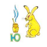 Письмо для алфавита фантазии кириллического - Azbuka с кроликом фантазии Стоковая Фотография RF