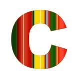 Письмо c в красочных линиях на белой предпосылке Стоковое фото RF