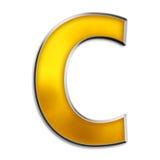 письмо c изолированное золотом глянцеватое Стоковое Изображение RF