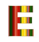 Письмо e в красочных линиях на белой предпосылке Стоковые Изображения RF