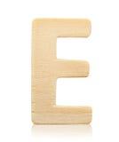 Письмо e одиночного прописного блока деревянное Стоковая Фотография RF