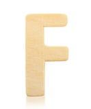 Письмо f одиночного прописного блока деревянное Стоковые Изображения RF